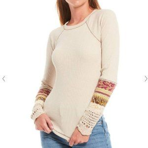 Free People In The Mix Jacquard Cuff Top NEW XS